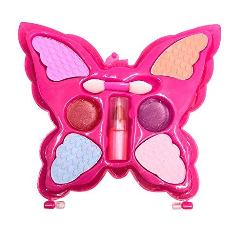 Beauty Mädchen Make up Set,Kinder Lippenstift Geschenkbox,Umweltfreundliche Schmetterlings Stil Kosmetik Rollenspiel Spielzeug Spielhaus Dekor Kit (pink)