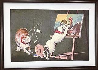 小林清親 画布に猫 A4 ポスター 輸送用 額付き ホビー おもちゃ 名画 グッズ