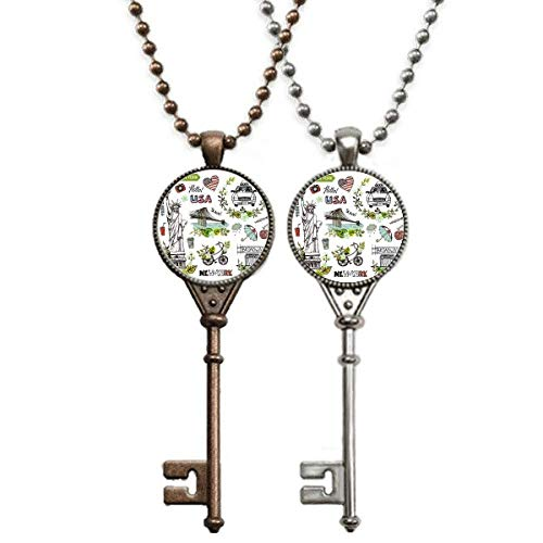 Collier pendentif pendentif clé Liberty New York America Graffiti Printemps Bijoux Couple Décoration