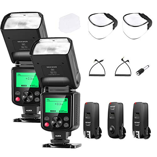 Neewer 2 Packs NW635 TTL GN58 Flash Speedlight Kit with 2.4G Trigger and Diffuser Compatible with Sony A9II A9 A7RIV/III A7III A7SIII A6600 A6500 A6400 A6300 A6000 A99II A77II RX10III/IV Cameras