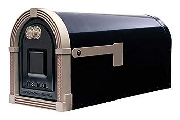 Gibraltar Mailboxes BM16BSN1 Brunswick Post Mount Mailbox Large Black and Satin Nickel