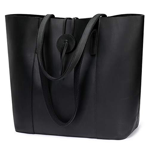 S-ZONE Vintage Genuine Leather Tote Bag for Women Large Shoulder Purse Handbag (Black)