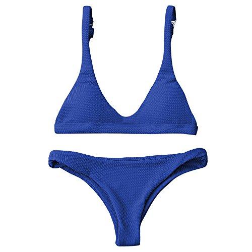 ZAFUL Women Padded Scoop Neck 2 Pieces Push Up Swimsuit Revealing Thong Bikinis V Bottom Style Brazilian Bottom Bra Sets(SAPPHIRE BLUE M)