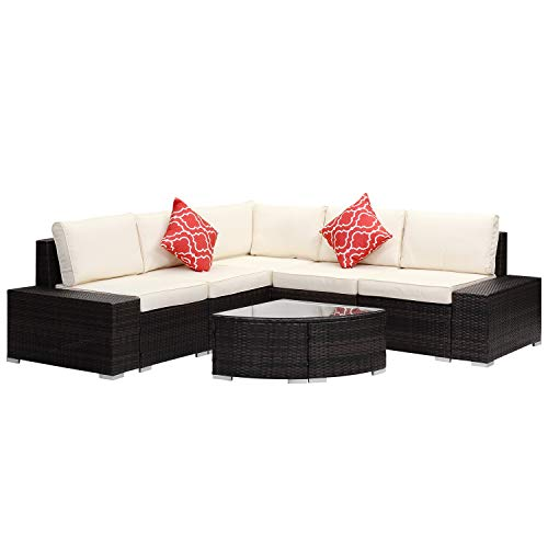 Outdoor Wicker Patio Furniture Sets 6 pcs Sectional Cushioned PE Rattan Conversation Sofa Brown