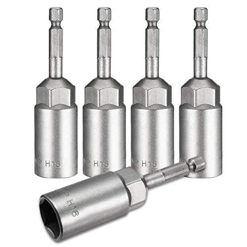 DealMux 5 piezas 1/4'vástago hexagonal de cambio rápido 16 mm broca de destornillador de ajuste de tuerca, 80 mm de longitud, métrica no magnética