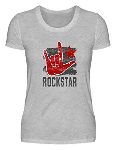 Generic Rock'n'Roll Hand - Fourchette à frites - Design simple et amusant - T-shirt pour femme - Gris - S