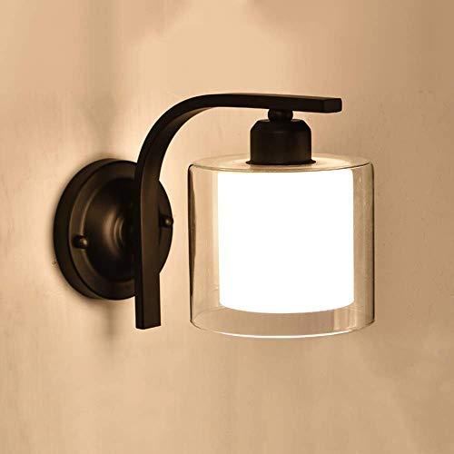 Apliques Pared Pasillo del pasillo de cristal LED de la lámpara de pared de estar comedor dormitorio Estudio Habitación Escaleras Balcón Negro Blanco hierro caliente amarillo simple luz moderna