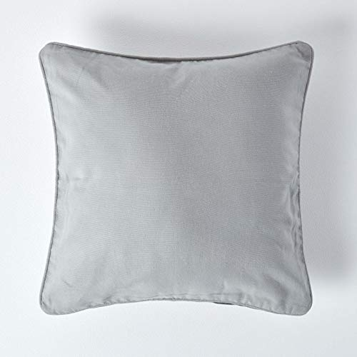HOMESCAPES - 100% Cotton Plain Grey Cushion Cover - 30 x 30 cm Square - 12 x 12 Inches Light Grey Silver Sofa Cushion Pillow Cover - Washable