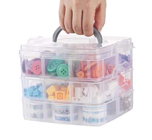 ilauke Sortier Aufbewahrungsbox Sortierbox mit Tragegriff, 3-Stöckige Aufbewahrungsbox Plastik Transparent Stapelbar für Die Organisation von Nähfäden, Spulen, Perlen, Schmuck, Spielzeug