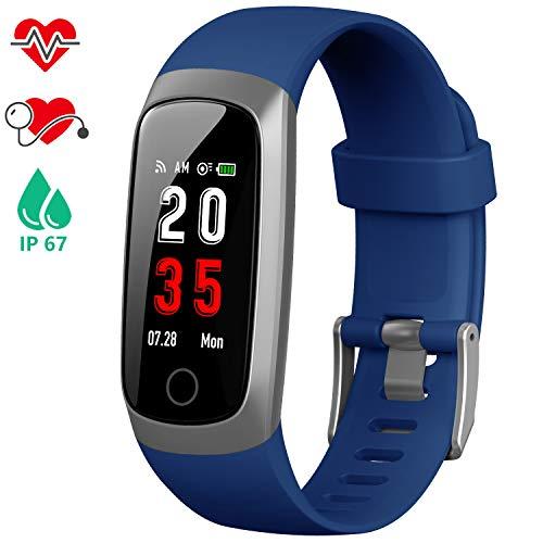 iPosible Fitness Tracker, Orologio Fitness Braccialetto Pressione Sanguigna Cardiofrequenzimetro da Polso Smartwatch Contapassi Impermeabile IP67 Cronometro per Donna Uomo Bambini Pedometro GPS Polso