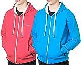 REDRUM - Felpa con cappuccio e zip, unisex, taglia XL, colore: blu turchese