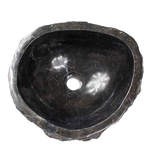 Oriental Galerie Marmorwaschbecken Waschbecken Stein Becken Basin Bad Waschschale Aufsatzwaschbecken Schwarz Marmor 38cm Nr. 18