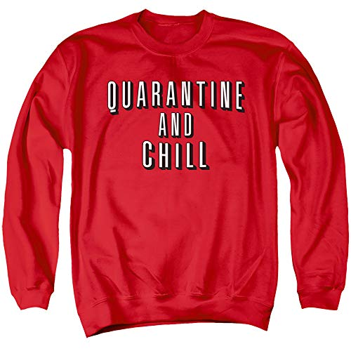 Social Distancing Quarantine and Chill 2 Unisex Adult Crewneck Sweatshirt for Men and Women, Medium Red
