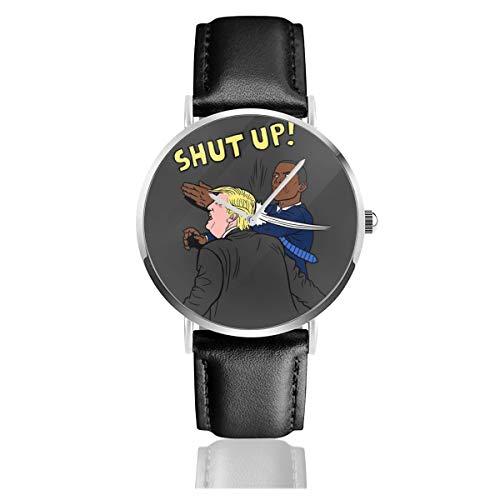 Unisex Business Casual Trump Versus Obama Shut Up Uhren Quarz Leder Uhr mit schwarzem Lederband für Männer Frauen Junge Kollektion Geschenk