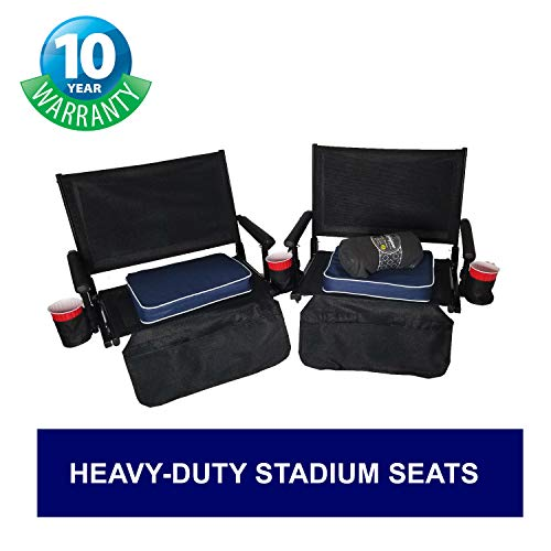 Season Special Big Daddy Super Heavy-Duty Stadium Seats - Portable & Easy to Carry - Two Chairs with Two Seat Cushions, Four Drink Holders & One Blanket - 10 Years Warranty