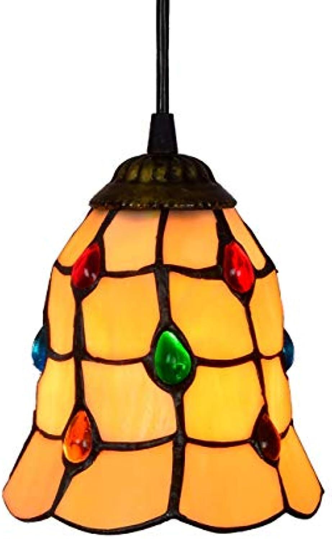 DLewiee Kronleuchter Licht Lampe Vintage Orange Nachtlicht Glas Kristalle auf Lampenabdeckung für Wohnzimmer natürliches Licht (Größe   6 Inch)