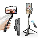 upxon Selfie Stick Tripod, Gimbal Stabilizer for Tiktok Vlog Youtuber Live Video Record with Bluetooth Wireless Remote, Cell Phone Tripod Phone Holder Compatible with iPhone Android Smartphone