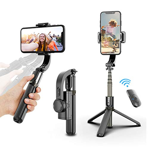 Selfie Stick Tripod, Foldable Gimbal Stabilizer with Bluetooth Wireless Remote, Extendable Cell Phone Tripod, 360° Rotation Portable Phone Holder Stand Compatible with iPhone Android Smartphone