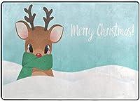 メリークリスマスウィンタースノーディアエリアラグ、リビングダイニングルームベッドルームキッチン用ハッピーニューイヤーラグ、5'X7'保育園ラグフロアカーペットヨガマット