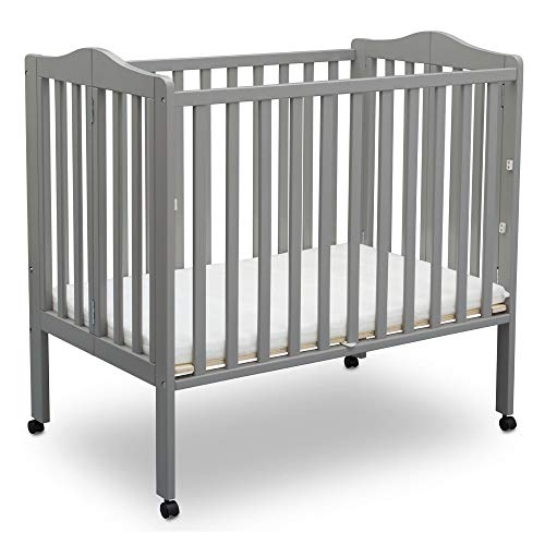 Delta Children Folding Portable Mini Baby Crib with 1.5-inch Mattress, Grey