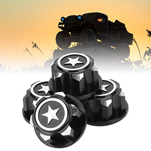 4-teilige RC-Radnabenkappe, robuste Staubabdeckung aus Aluminiumlegierung für Traxxas X-Maxx 1/10 RC-Auto-Upgrade-Zubehör(Schwarz)