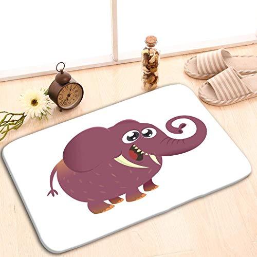 Fabric Rug Indoor/Outdoor/Front Door/Shower Bathroom Doormat Non-Slip Doormats 23.6x15.7 inch Cute Cartoon Baby Elephant icon Simple Gradients grea
