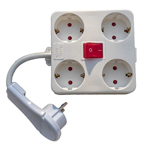 Steckdose mit kurz Kabel mit Gutstecker 4er Beleuchtet Schalter Mehrfachsteckdose Multistecker Möbel hinter Flachstecker Steckdosenleiste Schaltbar Kinderschutz