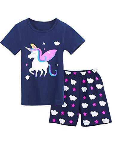 Bricnat Mädchen Schlafanzug Nachtwäsche Baumwolle Kinder Frühling Sommer Bekleidung Pyjama Set Kurze Ärmel Pyjama Zweiteiliger Schlafanzug Shorty,Blau 1,9-10 Jahre (140)