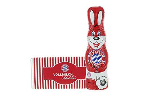 Kleines Ostern-Schoko-Fanpaket - Bundle mit einem Osterhasen und einer Schoko-Tafel aus Fairtrade-Kakao (250 g) (FC Bayern München)