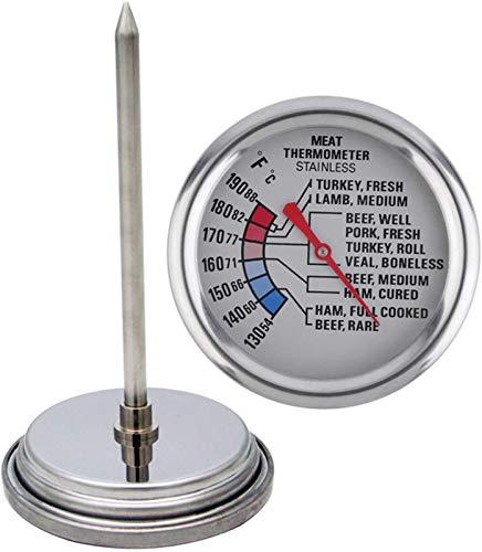 Casa Termómetro de Carne analógica de Cocina para la Asar el Horno de la Parrilla Caja Fuerte a Prueba de Agua Acero Inoxidable 2/4 Pulgadas dial (Size : Stainless Steel)