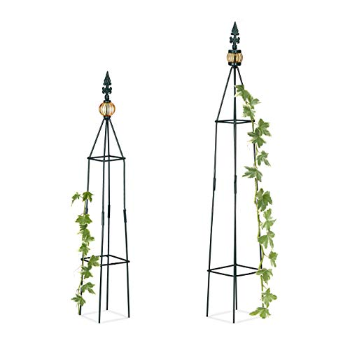 Relaxdays, Dark Green Trellis Set of 2, Freestanding, Flowerbed, Potted Plants, Weatherproof, Aid H: 99.5 x 81 cm