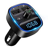 [2020 Version] LENCENT Transmetteur FM Bluetooth, Bluetooth Lecteur MP3 Adaptateur Radio sans Fil Kit Émetteur FM Voiture Chargeur, Appel Mains Libres, 2 USB Port 5V/2.4A1A, Support Carte SD/Clé USB