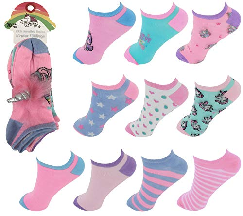 10er Pack Kinder Sneaker Socken Einhorn mit Einhorn-Haargummi 23-26