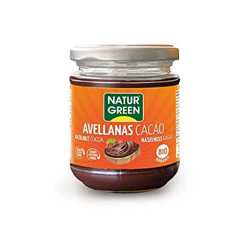 NaturGreen - Crema de Cacao y Avellanas Bio, Crema untable 100% Ecológica, Bajo contenido en Sodio - 200 g