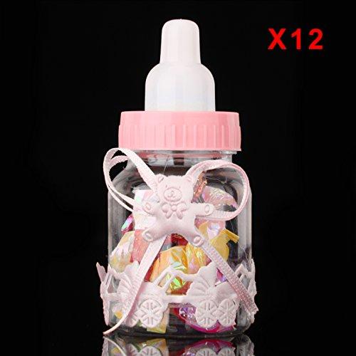 Multiware 12 Pcs Petite Bouteille de Bonbons Bouteille De Faveur Friandises Confettis Cadeaux Et Bijoux Décoration Pour Les Enfants Pour La Fête rose ours