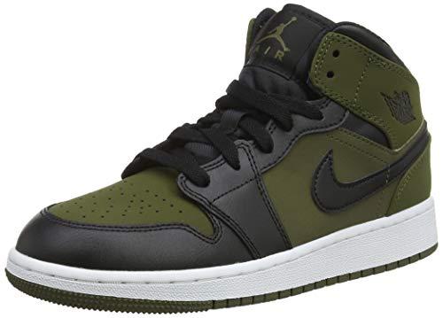 Nike Air Jordan 1 Mid Bg, Zapatos de Baloncesto Niños, Verde (Olive Canvas/Black/White 301), 35.5 EU