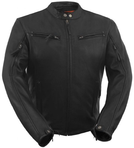 True Element Mens Modern Fit Vented Scooter Collar Motorcycle Leather Jacket (Black, Size L)
