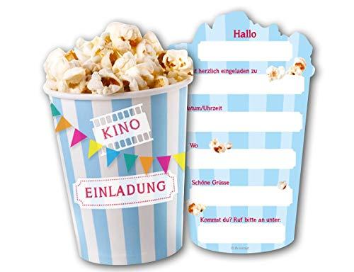 DH-Konzept 6 Einladungskarten * Kino * für Kindergeburtstag oder Party Kinder Geburtstag Party Einladung Einladungen Karte Mottoparty Popcorn