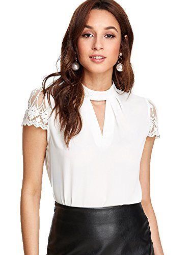 Materials: 95% Polyester, 5% Spandex Ruffle Hem, Button Back, Hollow Out,Stand Collar, Short Sleeve Casual Style,great for pairing with jeans, shorts, skinny pants. Sexy and Elegant, perfect for Business,Party,Cocktail,and Daily Wear Recommend to cho...