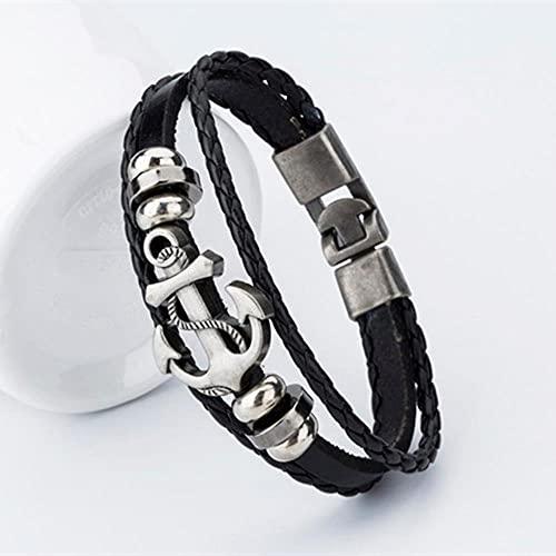 Infinito agosto nuevo estilo pirata aleación pulsera de ancla de acero inoxidable para hombres pulsera de cuero de vaca genuino brazaletes de joyería