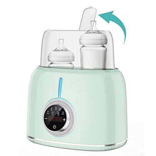 Baby Flaschenwärmer Dampf-Sterilisator Auftauen schnell gleichmäßig Erwärmen von Milch Babykost in wenigen Minuten bis 2 Babyflaschen, mit hohem Deckel, Warmhaltung und automatische Temperaturregelung