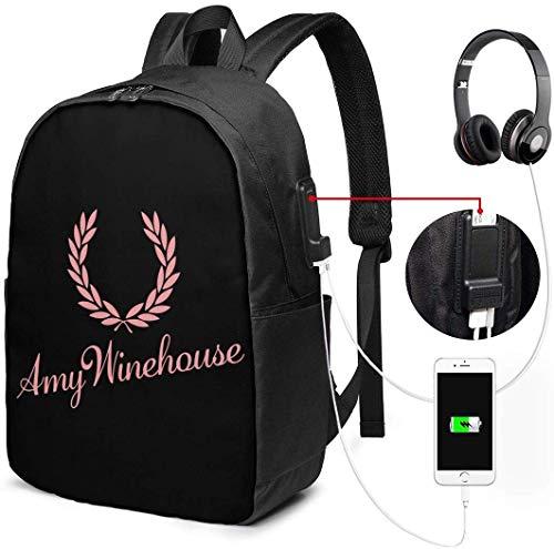 Mochila para computadora portátil con Logo Amy Winehouse para Hombres y Mujeres con Impermeable, Mochila para Viaje/Escuela con Puerto de Carga USB e Interfaz para Auriculares