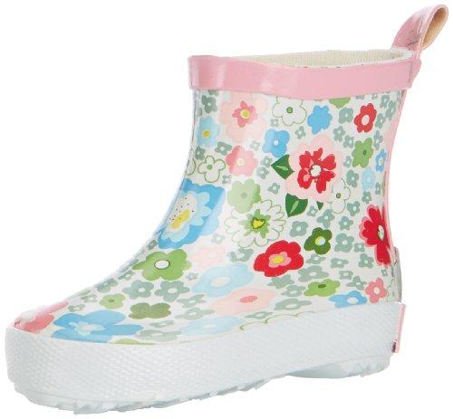 Playshoes Kinder Halbschaft-Gummistiefel aus Naturkautschuk, trendige Unisex Regenstiefel mit Reflektoren, mit Blumen-Muster, Mehrfarbig (1-weiß), 18 EU