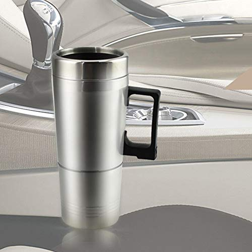 Lowest Price! Shentesel Auto Car Heating Cup Stainless Steel Electric Heated Water Mug 450ml - Silve...