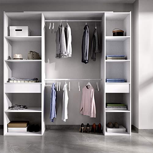 HABITMOBEL Vestidor Perchero Blanco con baldas y cajones, Medidas: Alto: 203 cm x Fondo: 50 cm x Ancho: 200 cm