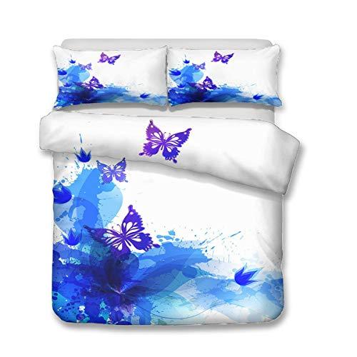 QWAS Funda nórdica con diseño de mariposas en 3D, ropa de cama, ropa de cama, cama individual, doble y king (A1,220 x 240 cm + 80 x 80 cm x 2)