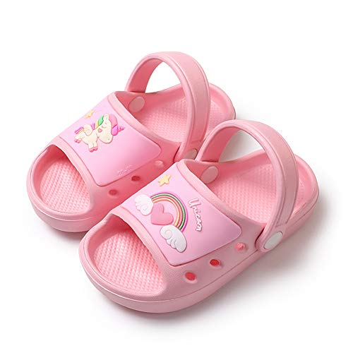 Sandalias Bebé Zapatillas Playa de Verano Niños Zapatos Unicornio Niñas Pantuflas de Baño Antideslizantes para Infantils 22 23 EU,Rosa Unicornio