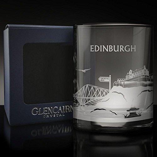 Glencairn Edinburgh Skyline Glas geätzt Whisky Tumbler und Präsentation Box 17cl