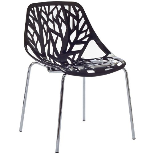 Modway Stencil Stackable Dining Side Chair in Black