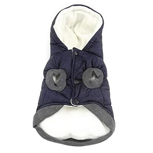 Capa de la chaqueta de perro abrigo de invierno para mascotas mascotas ropa caliente con forro polar sudaderas con capucha azul XXL, con capucha perro